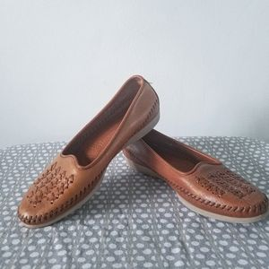 Vtg Dexter USA women's brown leather loafers 9M